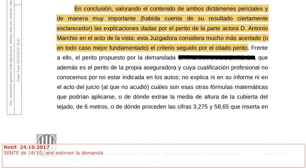 Sentencia informe pericial Sabadell